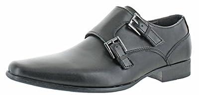 Calvin Klein Men's Bayard Leather Dual Buckle Dress Oxford Shoes