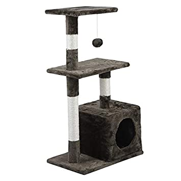 Olasea Árbol para Gatos Rascador con Nido Plataforma Cuerda de Juego 85 CM Marrón: Amazon.es: Productos para mascotas