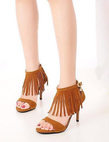 ShangYi Womens Shoes Heel Heels / Peep Toe Sandals / Heels Outdoor / Dress / Casual Black / Yellow / Gray Brown