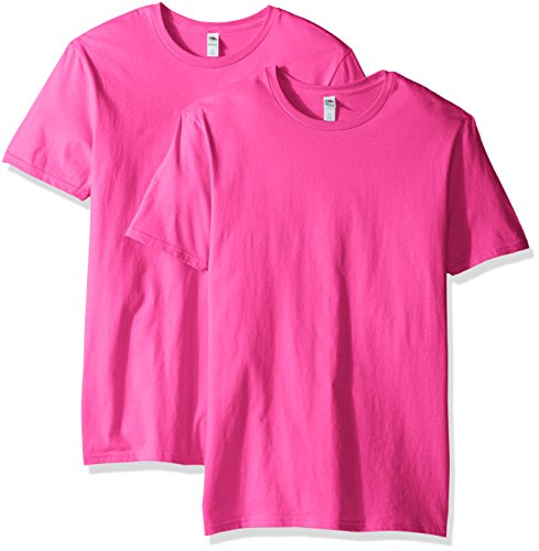 (Fruit of the Loom Men's Crew T-Shirt (2 Pack), Cyber Pink, Small)
