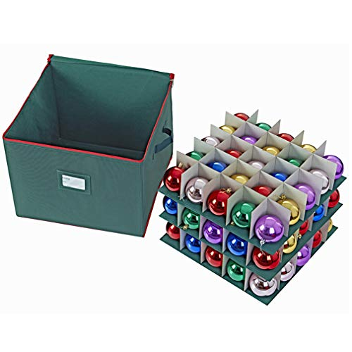ProPik Holiday Ornament Storage Box Organizer Chest, with 3 Trays Holds Up to 75 Ornaments Balls, with Dividers to Organize Durable 600D Oxford Material (Green)