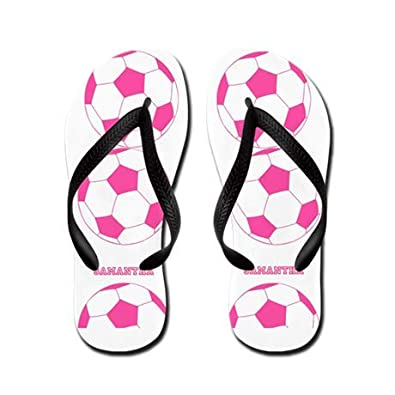 e604f2f5646a Lplpol Pink Soccer Ball Flip Flops for Adults L with Black Flip Flops Belt