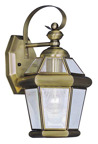 Livex Lighting 2061-01 Outdoor Wall Lantern with Clear Flat Glass Shades, Antique Brass
