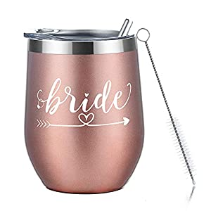 Best Epic Trends 41r%2Bn0W7OjL._SS300_ Amzyt Wine Tumbler for Bride, Stainless Steel Stemless Wine Tumbler with Lid-12 Oz Insulated Wine Glass for Married…