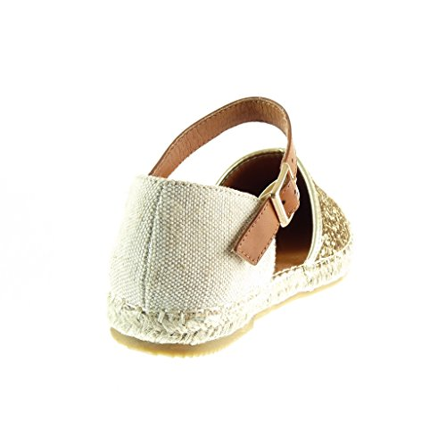 Angkorly Damen Schuhe Espadrilles Sandalen - Mary Jane - Offen - Glitzer - Strass - Seil Flache Ferse 1 cm - Gold