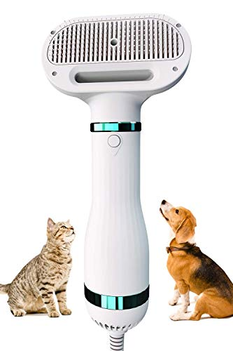 Pet Hair Dryer Dog Slicker Brush with 3 Heat Settings, 2-in-1 Professional Pet Grooming Hair Dryer Blower for Small and Medium Dogs and Cats