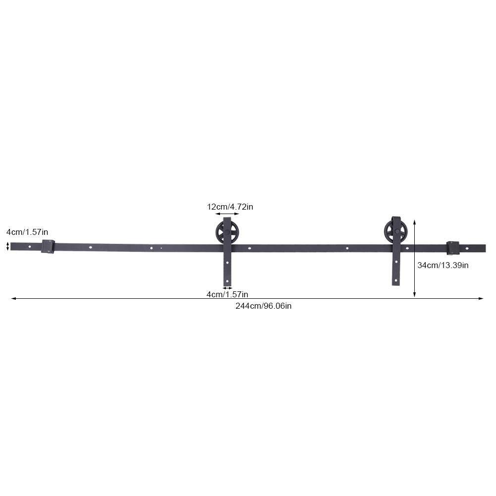 2,44 m Schiebet/ürsystem schwarz Schiebet/ürbeschl/äge Set Laufschienen T/ür-Hardware-Kit f/ür Schr/änke Belastbarkeit 150kg