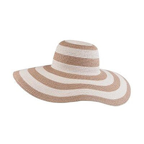 Tuplidsee Women's Straw Panama Sun Hat Black Striped Overflowed Floppy 2 -