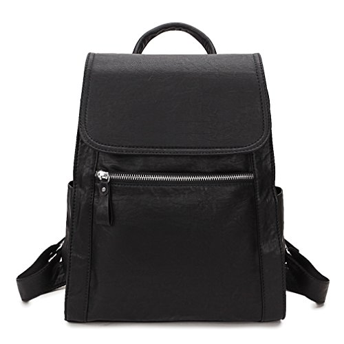 Backpack purse for women,Lightweight Fashion Flap Black Faux Leather Daypack for Girls VONXURY