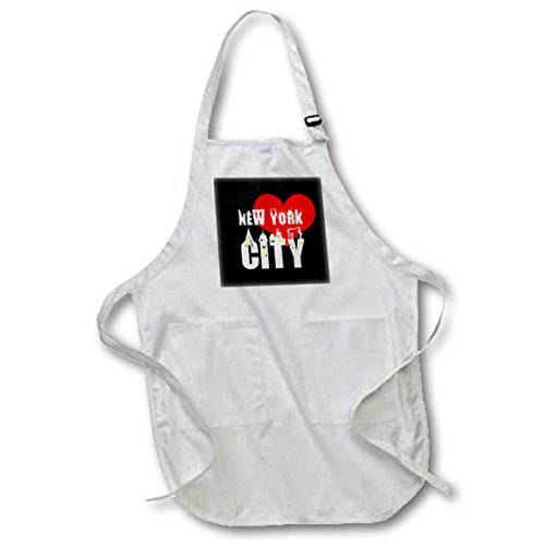 3dRose Alexis Design - American Cities - Decorative text New York City, red heart, shining windows on black - Full Length Apron with Pockets 22w x 30l (apr_286451_1)