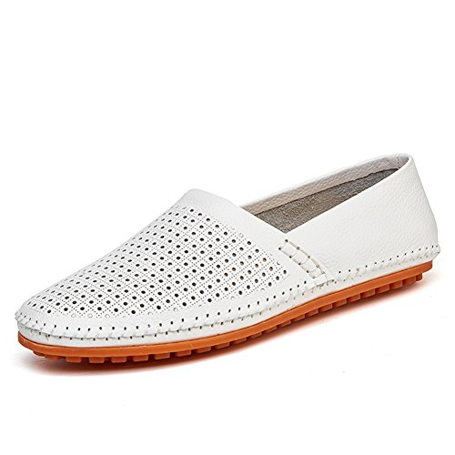 Go Tour Men's Classy Slip-on Casual Mocassin Leather Loafers The Go Driving Boat Shoes (46 M EU/11 D(M) US, White)