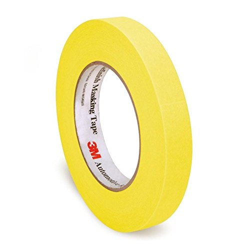 28 Lb Case (3M 06652 Automotive Refinish Masking Tape, 250 Degree F Performance Temperature, 28 lbs\in Tensile Strength, 55m Length x 18mm Width, Yellow (Case of 12)