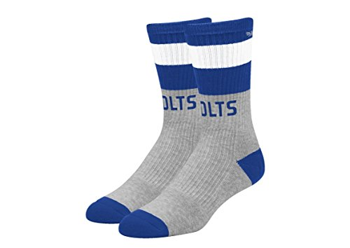 Indianapolis Colts NFL Team Wordmark Striped Gray and Team Color Mens Socks (L (Gray Striped Team Colors)