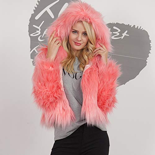 Manica Sintetica Libero Cappotto Plus Pink Giacca Outerwear Prodotto Glamorous Eleganti Tempo Moda Lunga Caldo Corto Incappucciato Di Semplice Monocromo Pelliccia Donna EWqWBS