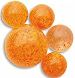 """Unique & Custom {5/8'' Inch} Set Of 25 """"Round"""" Opaque Marbles Made of Glass for Filling Vases, Games & Decor w/ Vibrant Speckled Space Venus Inspired Kid's Design [Orange Colors] w/ 1 Shooter"""