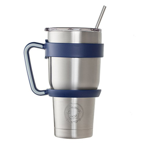 Livin' Well 30oz Tumbler Rambler Insulated Travel Cup Mug | Gift Set - Sliding Lid, Handle, 2 Metal Straws | Double Wall Vacuum Stainless Steel | 24 Hours Ice Retention | Makes a Great Gift (BLUE)