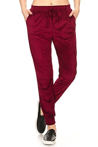 Shosho Womens Shiny Crushed Velvet Leggings Pants With Pockets Burgundy Large Crushed Velour Pant