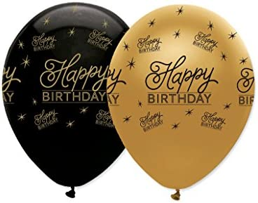 Cumpleaños Negro Y Oro Globos 6 Pack: Amazon.es: Bricolaje y ...