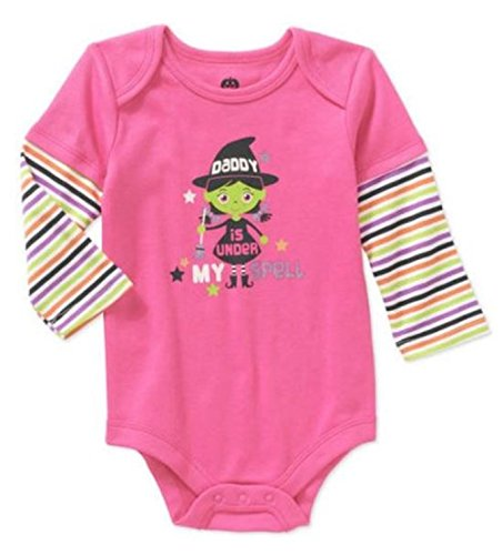 [Assorted Witch, Pumpkin, Cat Baby Boys & Girls Halloween Bodysuit Dress Up Outfit (3-6 Months, Pink - Daddy is Under My] (Halloween Outfits Ladies)