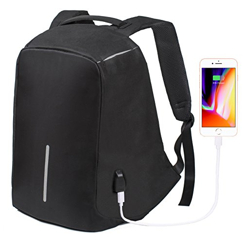 Anti theft Backpack Laptop With USB Charging Port for Men Women - 15.6 Inch Macbook Computer Notebook - Business Backpacks Black - Travel Waterproof Bag Lightweight Shockproof - School College Bookbag by Pilgrim
