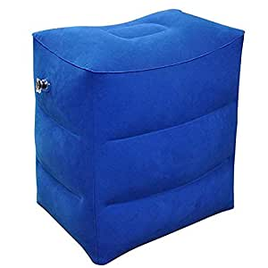 Inflatable Foot Rest Pillow Cushion ,Travel Foot Rest Pillow, Inflatable Travel Leg Rest Pillow for Foot Rest on Airplanes, Cars, Buses, Trains, Office, and Kids to Sleep on Long Flights (Blue)