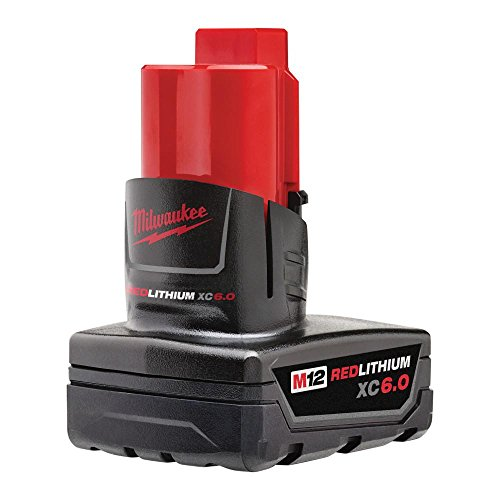 Milwaukee M12 12-Volt Redlithium XC 6.0Ah Extended Capacity Battery Pack | All Weather Performance Battery Pack for Your Hardware Power Tools | Compatible With All M12 Tools & Chargers (Milwaukee Tools Car Charger)
