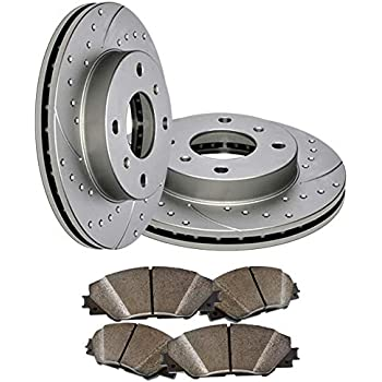 Front R1 Concepts KEDS11704 Eline Series Cross-Drilled Slotted Rotors And Ceramic Pads Kit