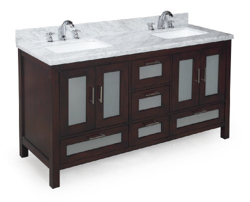 [Kitchen Bath Collection KBC-G60BRCARR Manhattan Double Sink Bathroom Vanity with Marble Countertop, Cabinet with Soft Close Function and Undermount Ceramic Sink, Carrara/Chocolate, 60