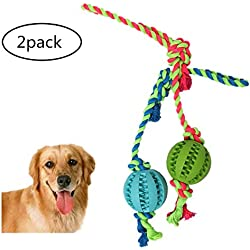Pettyglove direct Dog Chew Toy Pet Dog Chew Ball with Rope,Solid Rubber Ball on Rope for Pet IQ Train,Fetch,Play,Chew - Natural Rubber - Effective Tooth Cleaning