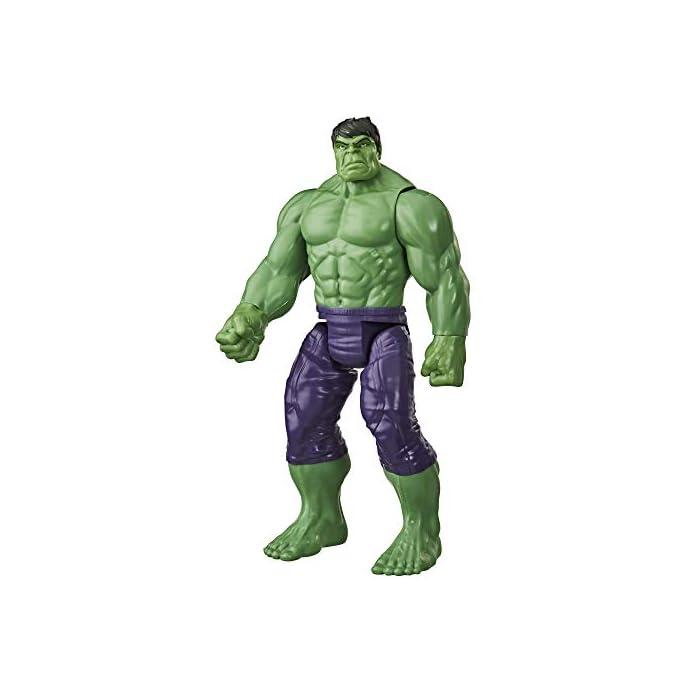 41r%2BqBCPdZL Imagina a bruce banner convirtiéndose en el enorme héroe verde hulk con esta figura de hulk de 30.cm, inspirada en el diseño clásico del personaje de los cómics de marvel Los fans pueden imaginar al extremadamente fuerte hulk echando abajo muros y lanzándose a la aventura con esta figura de hulk, inspirada en el personaje de los cómics de marvel Conecta el lanzador blast gear (no incluido, se vende por separado con las figuras titan hero blast gear) al puerto posterior de las figuras titan hero series y titan hero blast gear para lanzar proyectiles con tan solo pulsar un botón