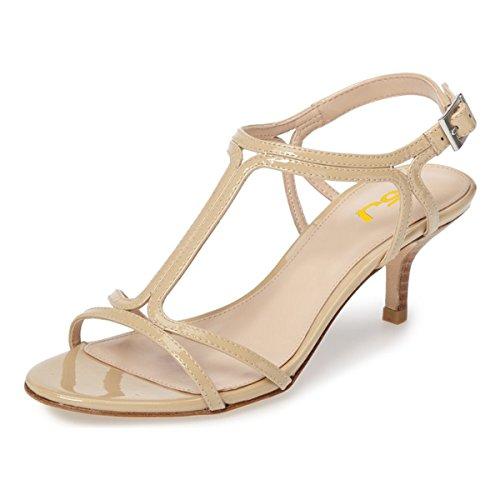 FSJ Women Casual T-Strap Sandals Open Toe Kitten Stacked Heel Strappy Rhinestones Shoes Size 4-15 US Nude WOudj