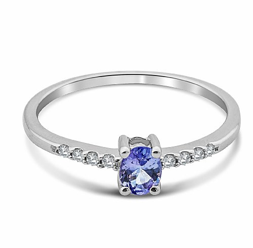 Miore - Bague - SA980RO - Femme - Or Blanc 375/1000 (9 Cts) 1.57 Gr - Diamant/Tanzanite - T 55