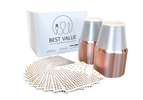 Best Value Supplies 9 Oz Rose Gold Rimmed Clear Plastic Cups and Cocktail Napkins Set (50 Pack of Each) - Elegant Heavy Duty Disposable Party Tumblers by Best Value Supplies (Image #1)
