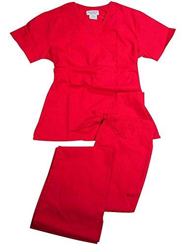 Natural Uniforms - Women's Mock Wrap/Flare Pant Medical Scrubs Set (Red, X-Large)