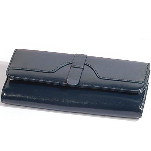 J Fold Bi Fold Wallet (H&J Genuine Leather Wallet for Women 3 Size 3 Color (Size L : 7.5*4 *1.5 IN, Deep Blue))