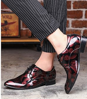 scarpe Bebete5858 Rosso Flower Extra scamosciato Pelle casuale PU Uomini Dimensione Inghilterra Grande 50 stile Uomo particolarmente pPwaqpxf