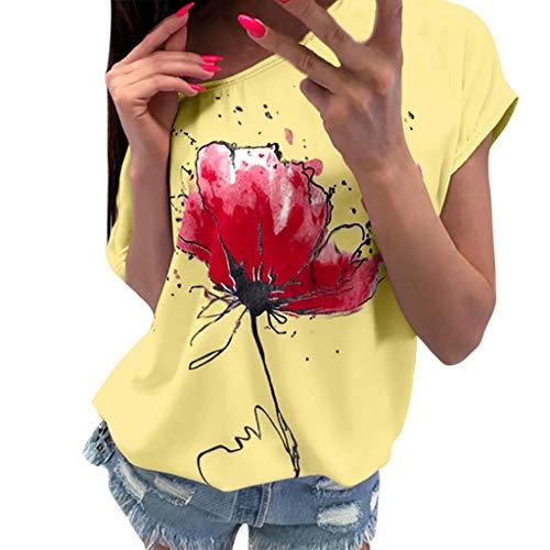 - ANJUNIE Women Floral Print T-Shirt,Casual Blouse Short Sleeve Loose Top (Yellow,XXL)
