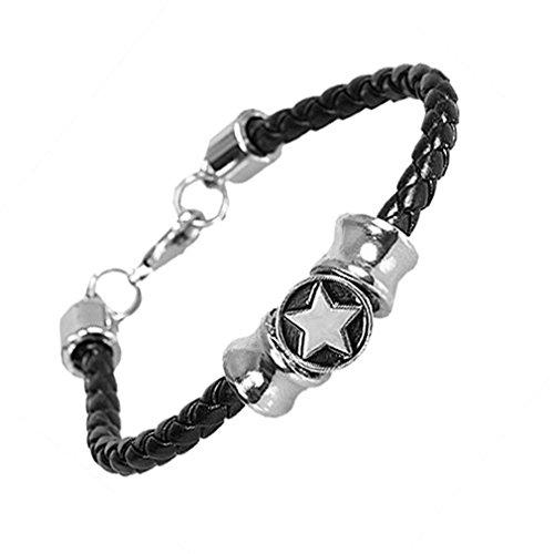 Urban Jewelry Shooting Stars Unisex Leather Bracelet for Men and Women (Studded Wristband Single)