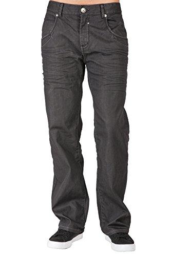 Level 7 Men's Boot Cut Premium Coating Whisker Black Denim Jeans Zipper Trim Pocket (Black Denim Loose Fit Jeans)
