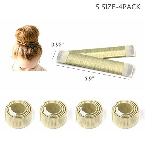 CLOTHOBEAUTY small size DIY Hair Bun Making Women Girls Kids Hair Bun Making Styling Twist Donut Bun Hairstyle Tool,kids/child hair bun maker, for thin/short hair(5.9, 4 Pack) (Blonde)