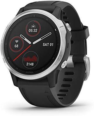 Garmin Fenix 6S, reloj GPS multideporte definitivo, tamaño más pequeño, ajuste de calor y altitud V02 Max, sensores de pulso Ox y foco de carga de entrenamiento, plateado con banda negra