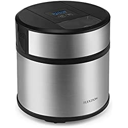 Flexzion Ice Cream Maker Frozen Yogurt Sorbet Gelato Maker Machine with Digital Timer - Automatic Electric Easy Pour Spout 3 Pints