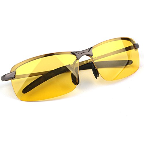 The Best Safety Glasses for Driving Risk Reducing HD Night Vision Polarized Goggles Anti-Glare Driver Eyewear Sport Sunglasses for Men or Woman UV400 Eyes Protection Metal Frame and Reinforced - Protection Eye Best Sunglasses