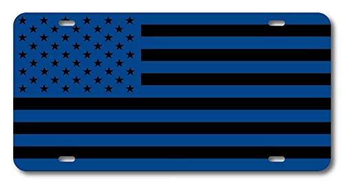 (American Flag Reflex Blue/Gloss Black Military Grunt Subdued USA Personalized License Plate Aluminum Car Plate Decorative Car Tag Sign Metal Auto Tag Front License Plate 4 Holes (12