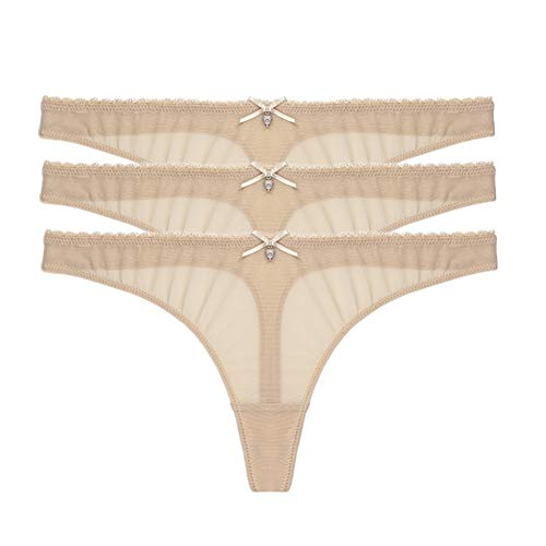 (Varsbaby Women's Sexy Sheer Panties Thongs Mesh G-Strings Low Rise Brief Underwear, 3-Pack (XL, Beige))