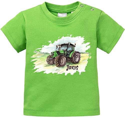 EZYshirt® Tractor met naam naar wens, T-shirt van bio-katoen