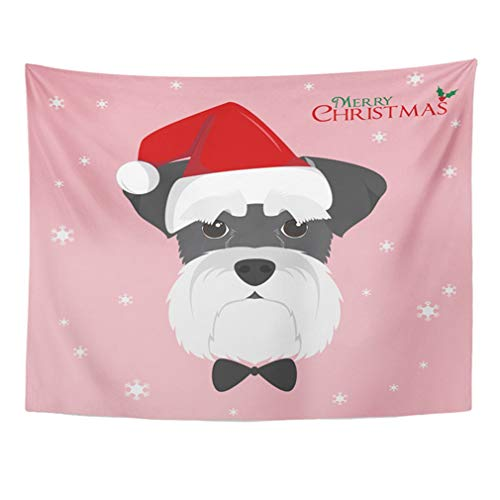 Emvency Tapestry Mandala 50x60 Inch Home Decor Tapestries Flat Christmas Schnauzer Dog with Red Santa's Hat Cartoon Adorable Animal Breed for Bedroom Living Room Dorm