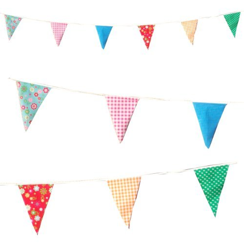 20 Plastic Flags 10 Metres long Garden Party Vintage Bunting Floral Dots Check Flags [C1003] by Super -
