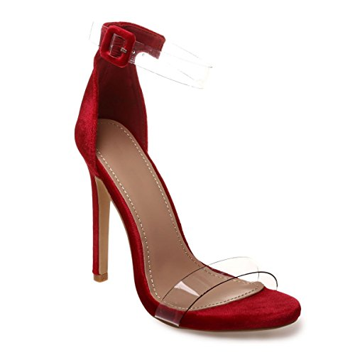 Vestir La Rojo Sandalias Material Mujer Modeuse De Sintético nxZpwaxz