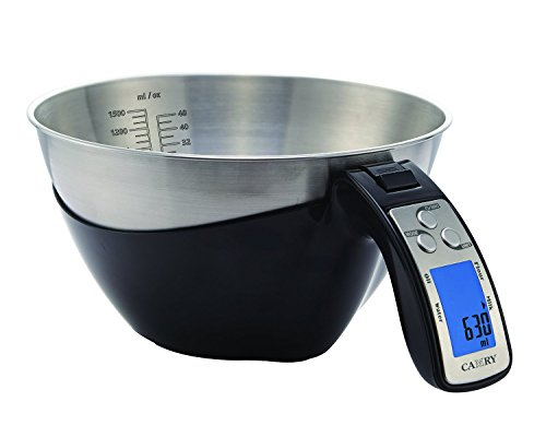 Camry 11lb / 5kg Precision Digital Kitchen Food Scale with Stainless Steel Mixing Bowl, 5 Measuring Modes, Backlit LCD Display (Black)